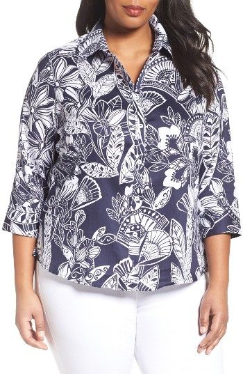 Free shipping and returns on Foxcroft Floral Print Wrinkle-Free Shirt (Plus Size) at Nordstrom.com. Spend more time in the sun instead of at the ironing board with this shirt in crisp, wrinkle-free cotton featuring a graphic print with a tropical feel. Adding to the island attitude, a complementary ikat print lines the collar.