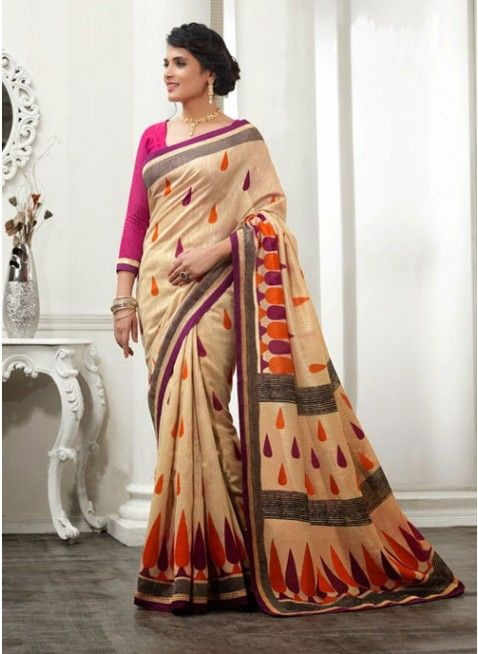 Tantalizing Beige #Silk Embroidered #Saree #clothing #fashion #womenwear #womenapparel #ethnicwear