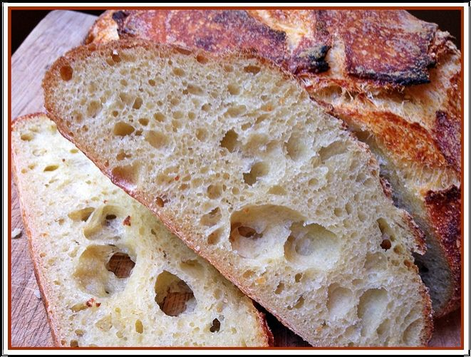 Having recently exorcised a few of my sourdough demons, I am happy as a clam baking bread every weekend. This version is an adaptation of a formula that called for 100% durum semolina flour. I to…