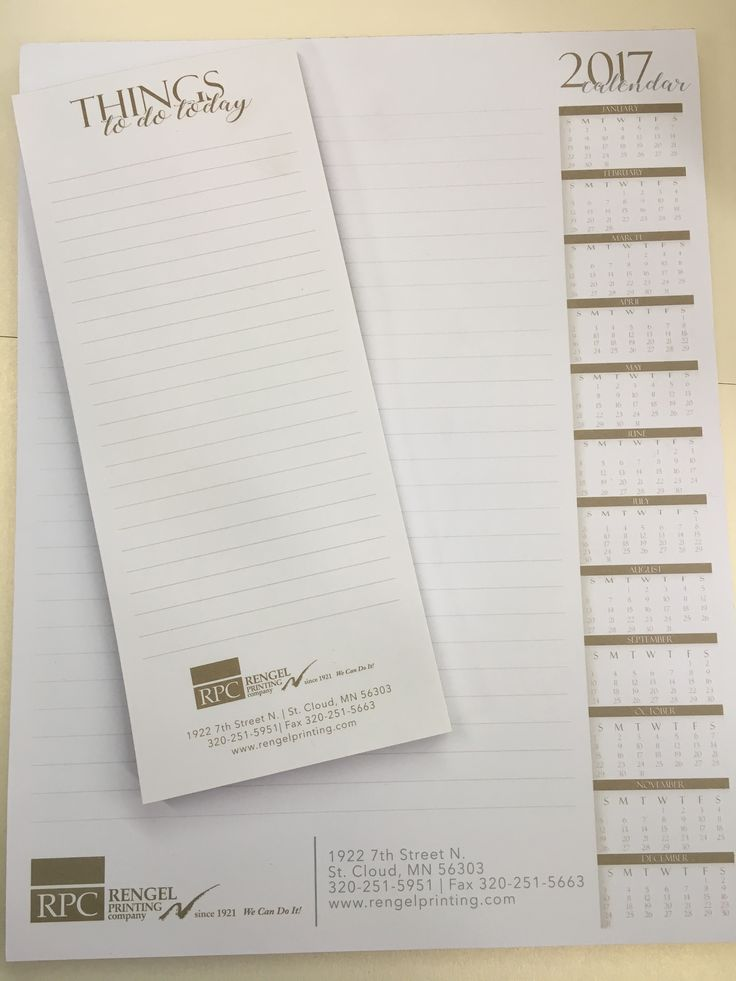 Custom to do note pads and 12 month at a glance note pads make great appreciation gifts for customers or employees and double as a marketing tool!  Designed and printing by Rengel Printing Company.