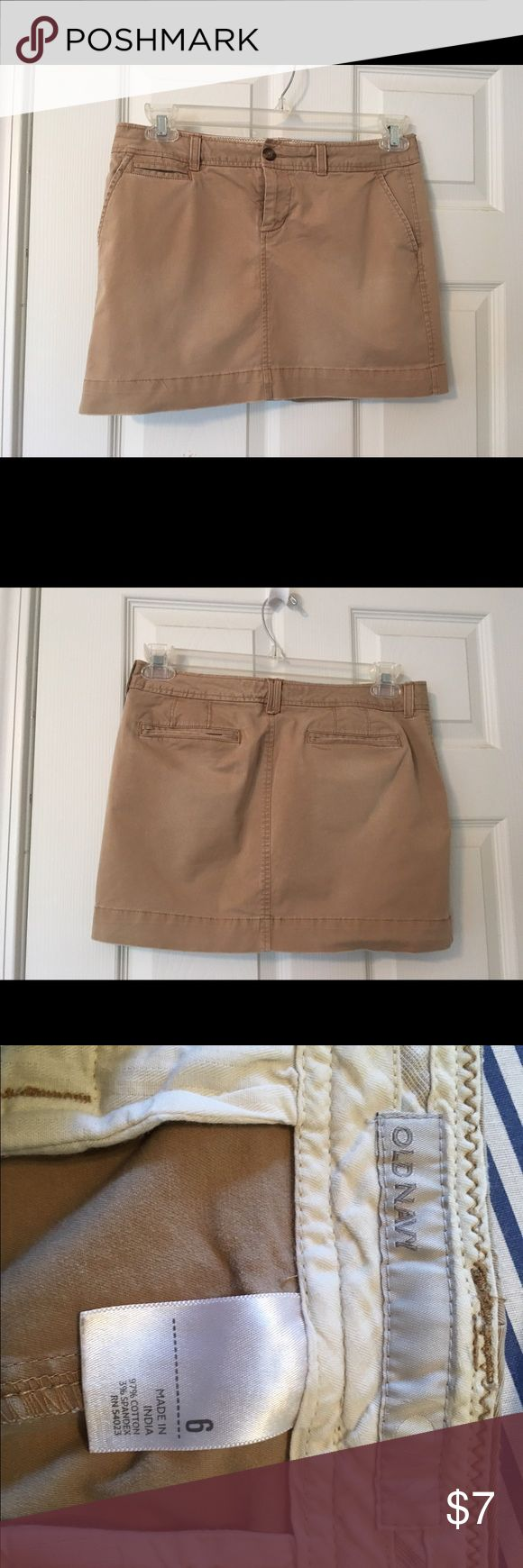 Old Navy Kaki Jean Mini Skirt with 5 pockets. Pockets, cute over Capri or long leggings. Old Navy Skirts Mini