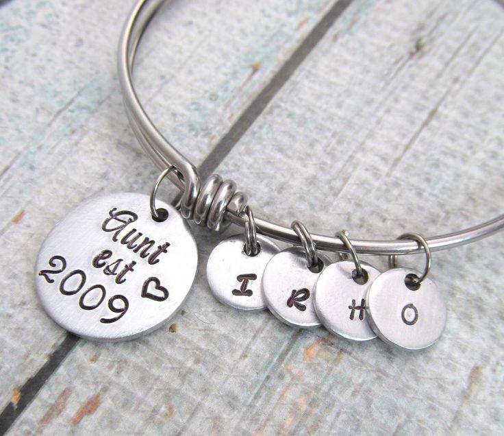 VBG.  Personalized Bangle Bracelet - Aunt Gift - Hand Stamped Jewelry - Expandable Bracelet - Best Aunt Ever - Expandable Bangle - Aunt Jewelry by FiredUpLadiesHammer on Etsy https://www.etsy.com/listing/253939512/personalized-bangle-bracelet-aunt-gift