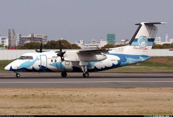 Amakusa Airlines (JP) De Havilland Canada DHC-8-103Q JA81AM aircraft, with previous livery (2004) (dolphins painted on fuselage), rolling at Japan Osaka Itami Int'l Airport. 16/04/2011.(The plane withdrawn from use 12/01/2018 & stored at Canada, Alberta, Calgary Int'l Airport 24/01/2018).