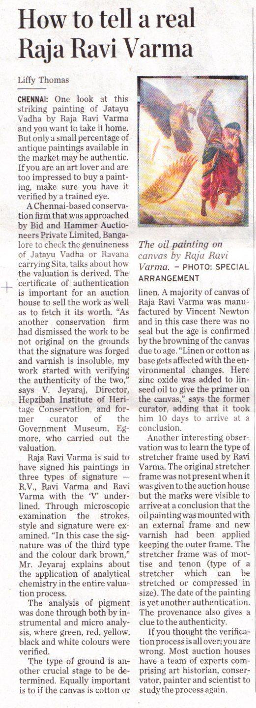 How to tell a real Raja Ravi Varma - Bid & Hammer's expert shares tips, The Hindu, 1st March 2012