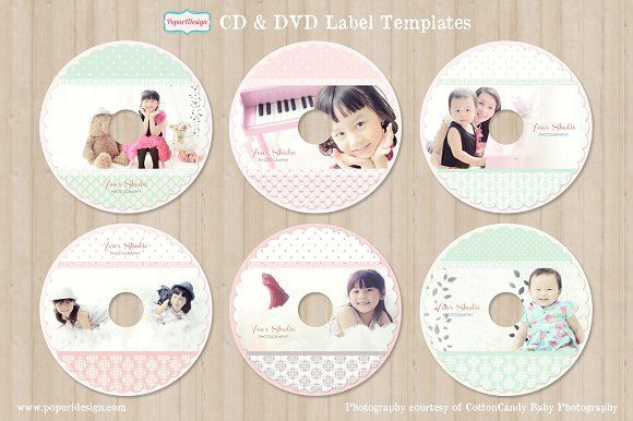 CD / DVD Label Templates by Popuri Design on @creativemarket