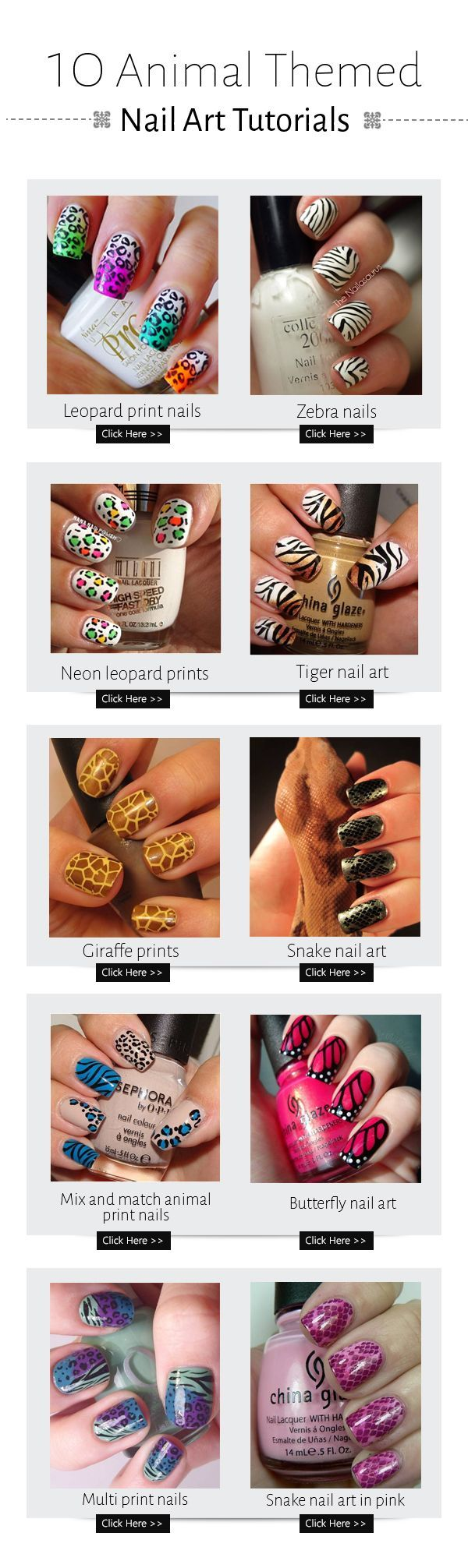 50 such amazing nail arts which are inspired by animals.