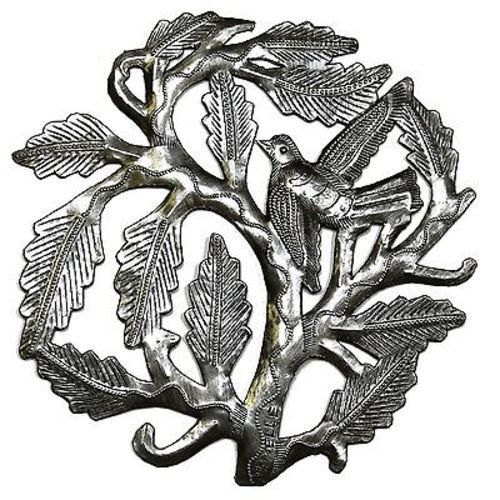 Small Tree of Life with a Single Bird 8 inch Wall Art - Croix des Bouquets