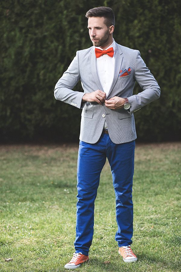 Color blocked groom | The Wedding Scoop Spotlight: Grooms and Groomsmen Style Trends