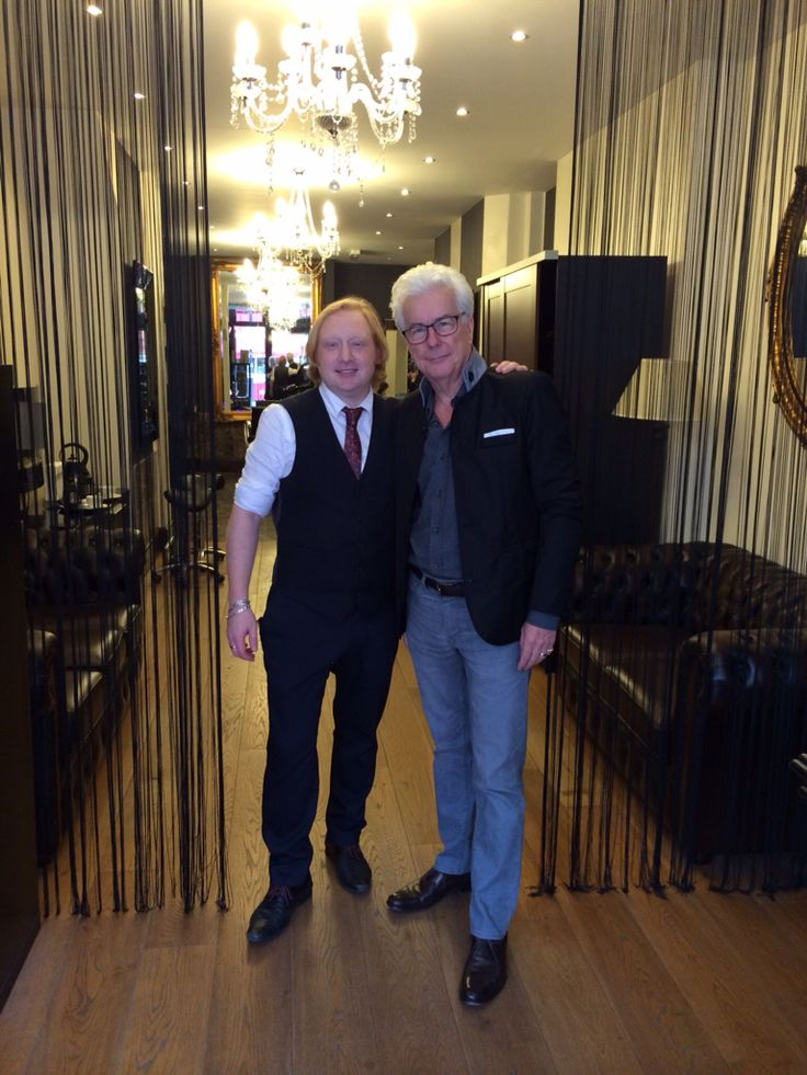 Ken Follett at Matthew David Bespoke Hairdressers, Mayfair, London Ken Follett, author of thrillers and historical novels.