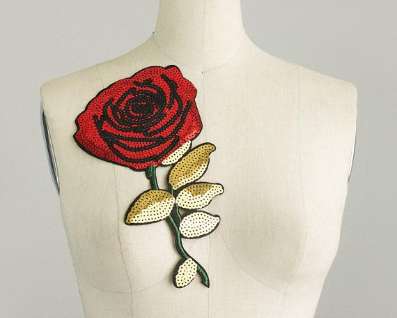 bdeda28f8d0 NEW ITEM! Extra Large Red SEQUIN Rose Large Iron On Patch Applique    Embroidered Patches   Jeans   Jacket   Gold Leaves   Costume   Flower