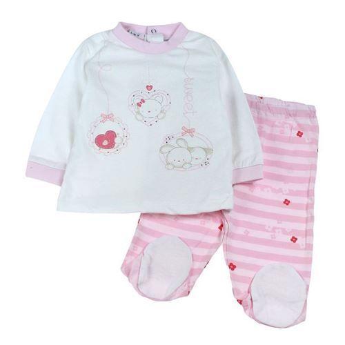Completino in ottimo cotone jersey per neonata, manica lunga inserti a contrasto, stampe al centro decoro strass, apertura posteriore bottoncini, ghettina con piedino, tessuto fantasia toni rosa, Melby. Composizione: 100% cotone - Colore: bianco/fantasia toni rosa