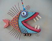 Twisted Piranha, Original Found Object Wall Art, Wood Carving, by Fig Jam Studio