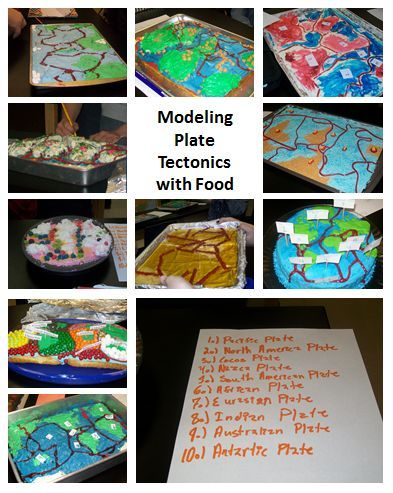 Modeling Plate Tectonics with Food! Students in 3rd, 4th, 5th, 6th, 7th, or 8th grade will enjoy creating food to go with this Earth Science lesson. Make it a home project, or let the students brainstorm and make it one large classroom project! {You could make this into just a paper/pencil project if you're worried about too much food}