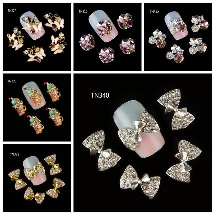 10 Teile/paket (1 pack = 1 stil) 3D Nageldekorationen Luxus Schmetterling Bogen Getränke Bier Cup DIY Glitter strass Für Nägel Nagelkunstwerkzeuge