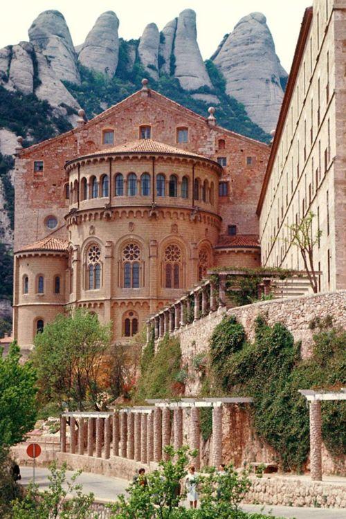 Benedictine Monastery, Monserrat, Barcelona, Spain. Montserrat is a multi-peaked mountain located near