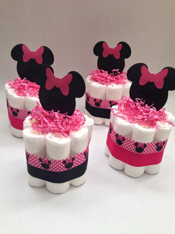 Charming FOUR Minnie Mouse Diaper Cakes Baby Shower By MrsHeckelDiaperCakes