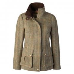 Joules Tweed Field Coat in Toad Green.  Lightly quilted ladies tweed coat with pretty floral print lining. Shapely feminine fit.  Finished just below the hips.  Worn for the last 3 years by our MD, this much-loved jacket is now an institution in its own right.