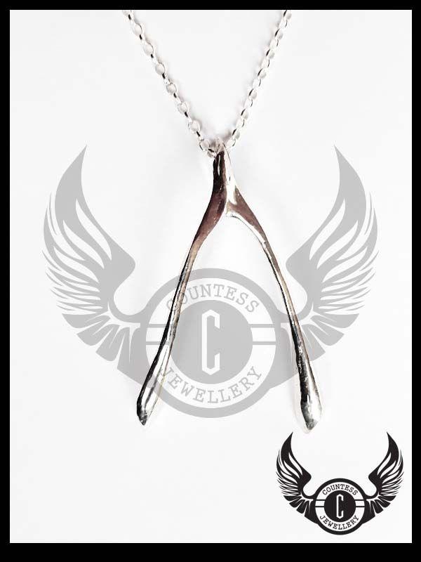 Cast wishbone pendant by Countess Jewellery