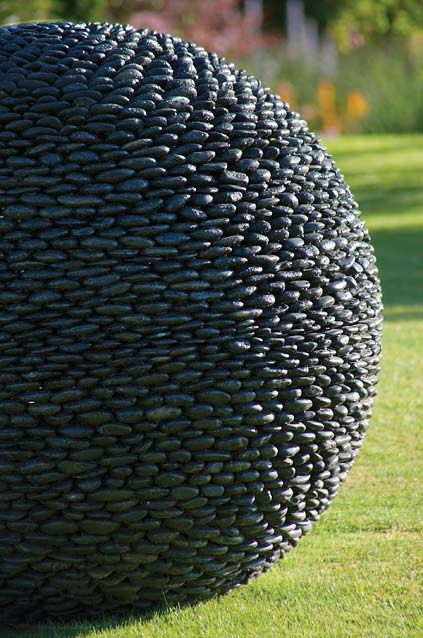 Garden Sphere Sculpture: Black Stone Outdoor Spheres With Stainless Steel  Centre