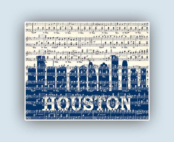 Houston Skyline Poster Houston Texas Print City by DigiMarthe