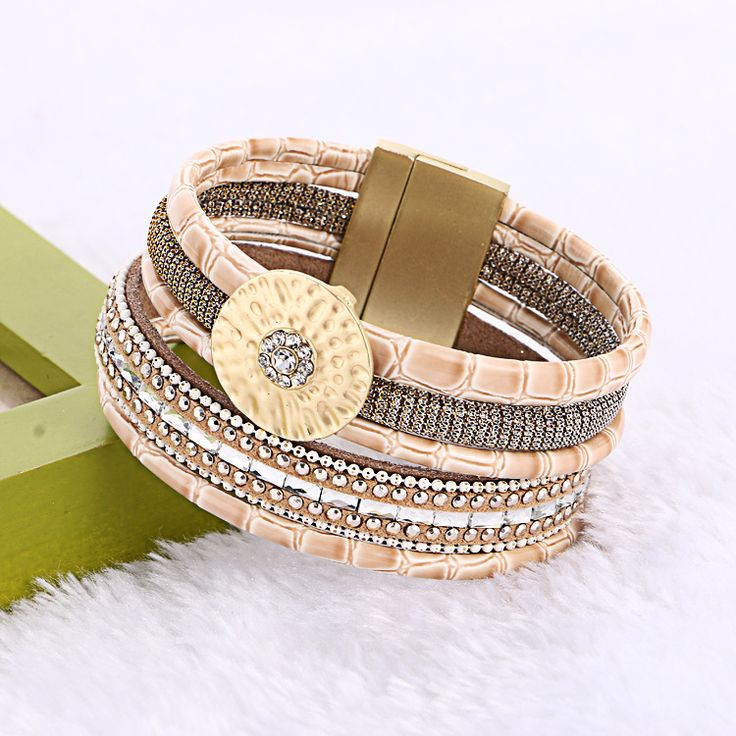 New Design Bamboo Leather Round Buckle Rhinestone Wide Magnetic Bracelets