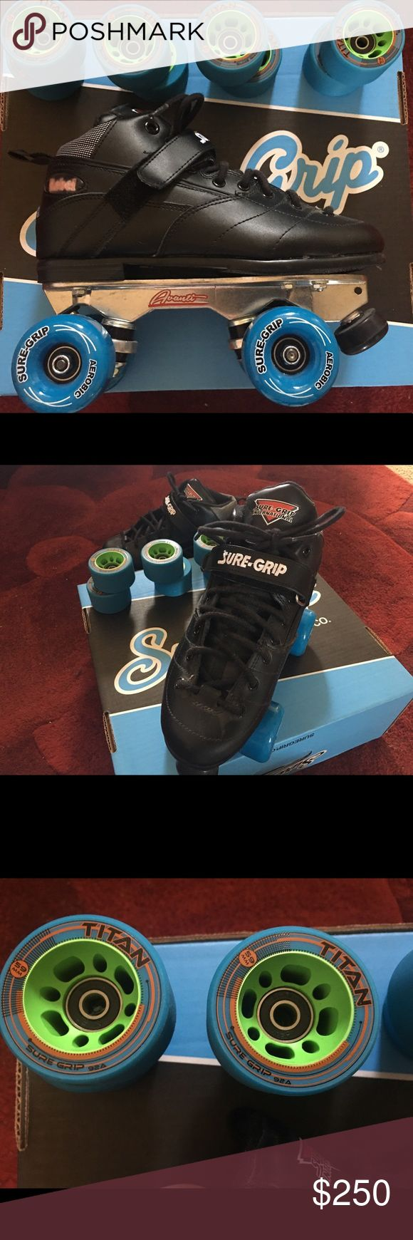Roller Derby Roller Skates They're brand new in the box, never warn. Women's size 8.5 Men's 7 Sure-Grip Rebel skates. I'll throw in the these Sure-Grip TITAN wheels and Smith knee pads. Valued at $350 NO TRADES ❌ FIRM ON PRICE Other