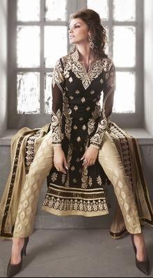 Look enticingly beautiful draped in this beige and black embroidered georgette churidar suit. It is designed with lace, moti, patch, resham and stones work. <br> <ul> <li>Material: Georgette</li> <li>Fit: Straight Cut</li> <li>Neck Line: Fancy</li> <li>Workmanship:  Resham, Stones</li> <li>Lining: Art Silk</li> <li>Co-Ordinates: Churidar & Stole Dupatta</li> <li>Hem: Not Applicable</li> <li>Care: Dry Clean Only</li> </ul>