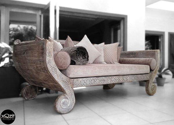 Indonesian White Rustic and Antique-Styled Daybed With Backing (White) - Including Full Set Of Cushions