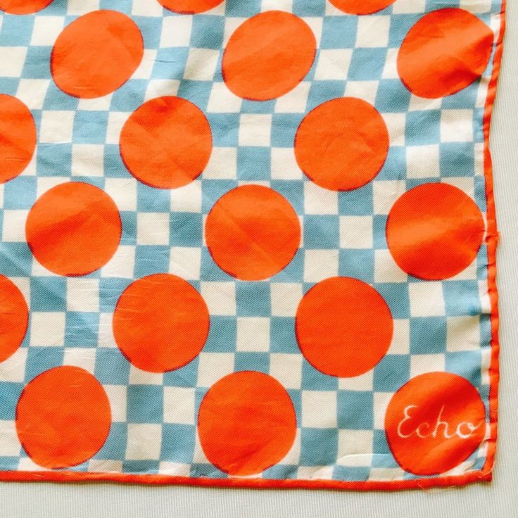 "Vintage 1950's 60""s Echo Blue and White Checks With Orange Polka Dots Silk Scarf #Echo #Scarf"