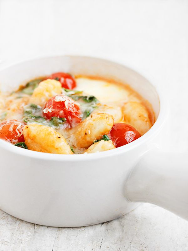 Baked Gnocchi with Arugula, Cherry Tomatoes and Bocconcini - a perfect weeknight dinner!   Seasons and Suppers