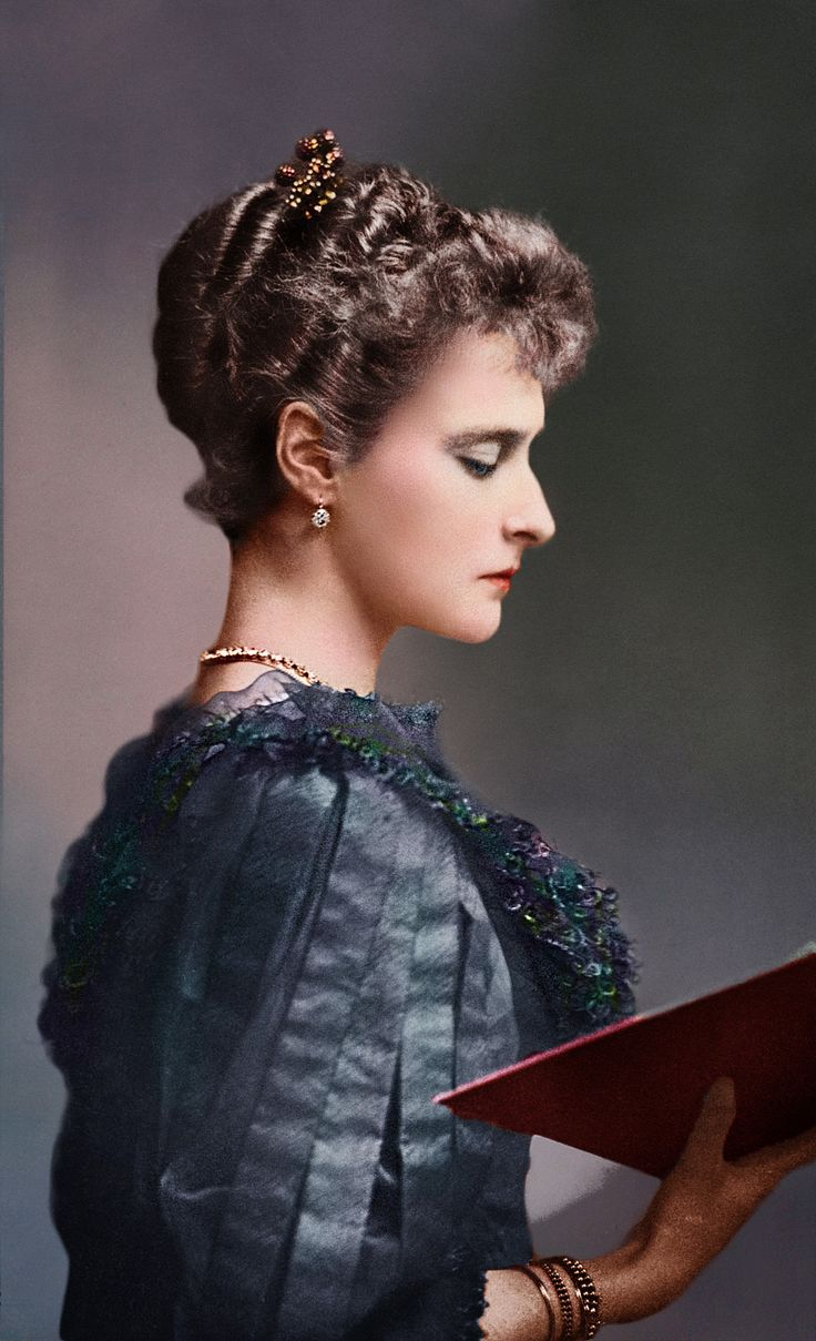 Empress Alexandra Feodorovna (Императрица Александра Фёдоровна, 1872-1918) was Empress consort of Russia as the spouse of Nicholas II, the last Emperor of the Russian Empire (colorized).