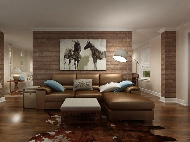cowhide rug in the family room