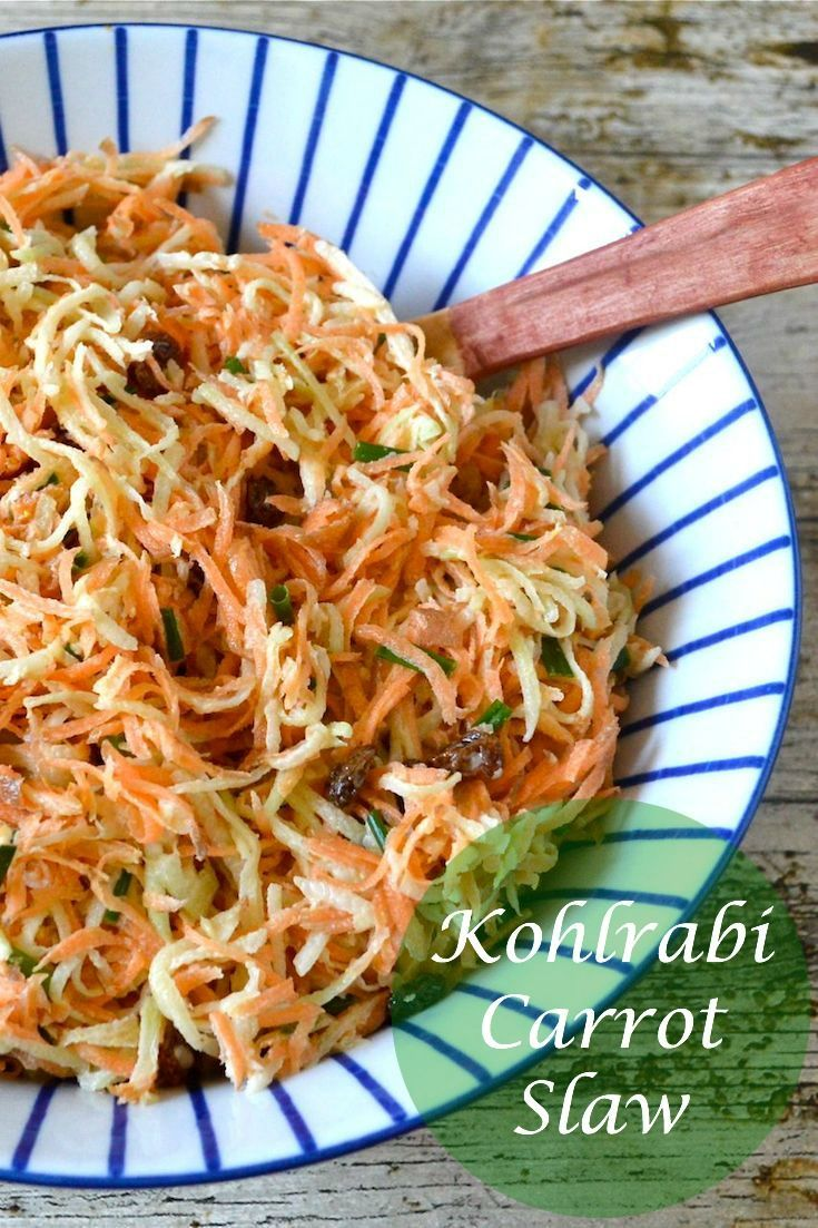 Easy to make kohlrabi carrot slaw with mustard mayonnaise and lime. A delicious side dish.