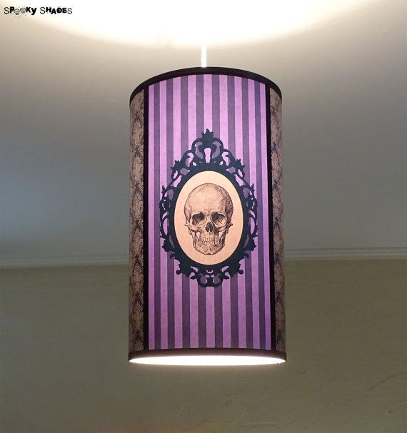 149 best spooky shades images on pinterest alfred hitchcock purple skull striped lamp shade lampshade ceiling light baroque skull unique lighting hanging chandelier violet lampgothic decordamask mozeypictures Images