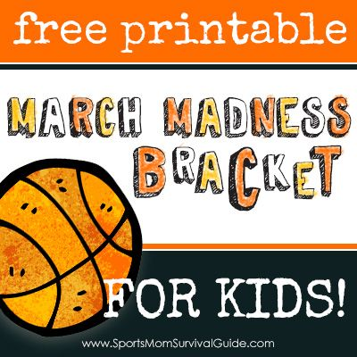 Download and print this FREE NCAA 2014 Tournament March Madness Printable Bracket for Kids!