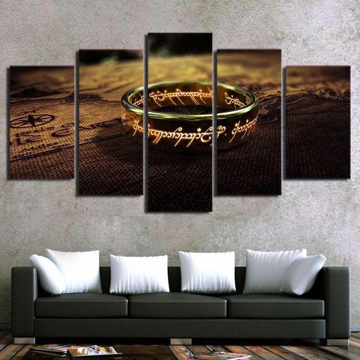 Framed 5 Piece Canvas: The one ring  //Price: $48.00 & FREE Shipping //     #BilboBaggins #lordoftherings #LOTR #thehobbit #hobbit #ExtendedEdition #Tolkien #Sauron #Smeagle #Frodo #myprecious #erebor # gandalfthegrey #filixkili #thehobbitanunexpectedjourney #radagastthebrown #theonering