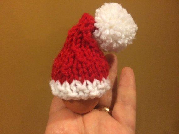Handmade hand knitted Santa mini Christmas tree hat by KnitSew4U