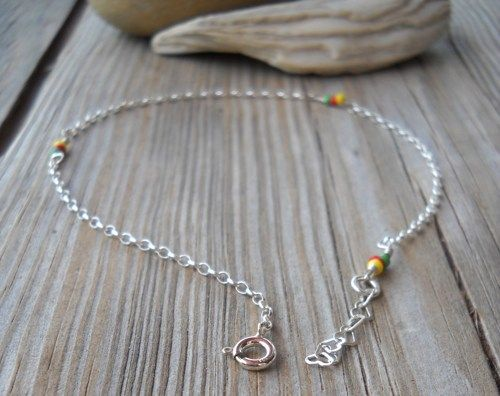 Handmade 925 Sterling Silver Porcelain Anklet | pavlos - Jewelry on ArtFire