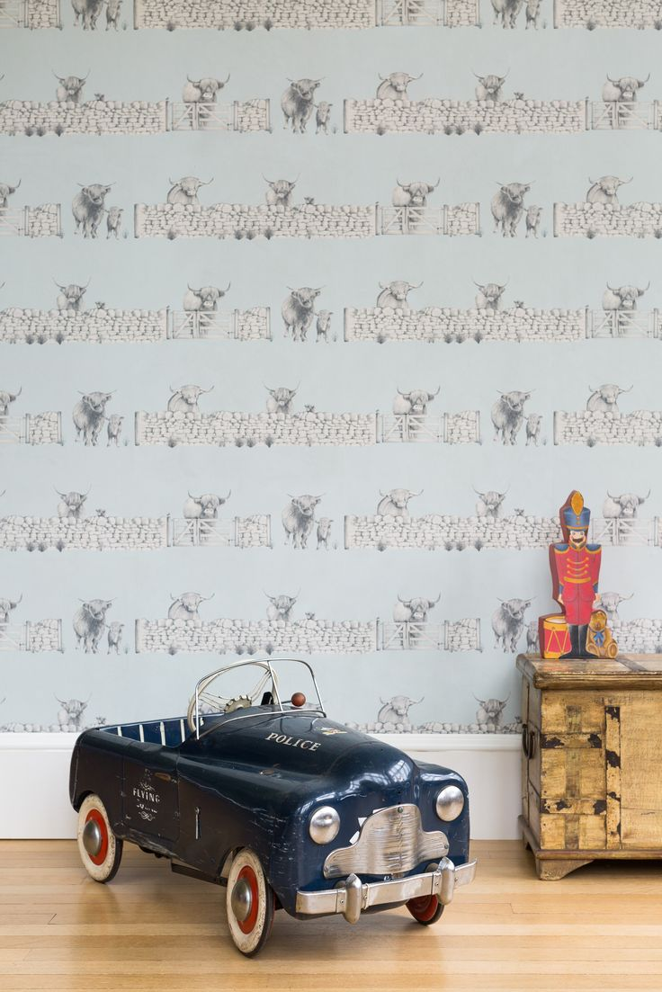 Beautiful highland cow wallpaper adds a playful touch to any nursery or bedroom. Highland Fling from the new Albion collection by Juliet Travers #wallpaper #design #highland #cows #animals #country #english #children #playroom #bedroom #interiors #interiordesign #walldecor