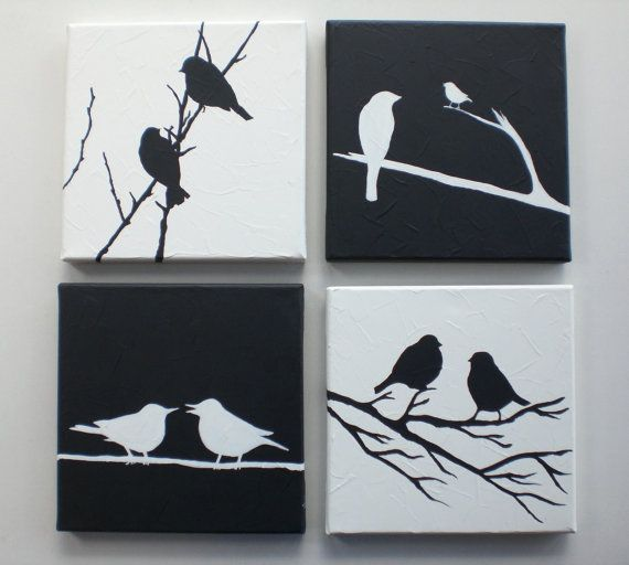 Original acrylic painting Black & White Love Birds by EditVorosArt,