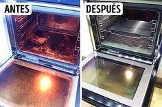 10Trucos para limpiar: Horno - Necesitarás:  Amoniaco. Aplicación:  En un recipiente pequeño vierte el amoniaco y déjalo en el horno frío durante toda la noche. Por la mañana, ventila bien la cocina y lava el horno, la mugre se desprenderá fácil. No debe quedar ningún olor. La única desventaja son las evaporaciones, por lo tanto trabaja usando guantes y mantén las ventanas abiertas.