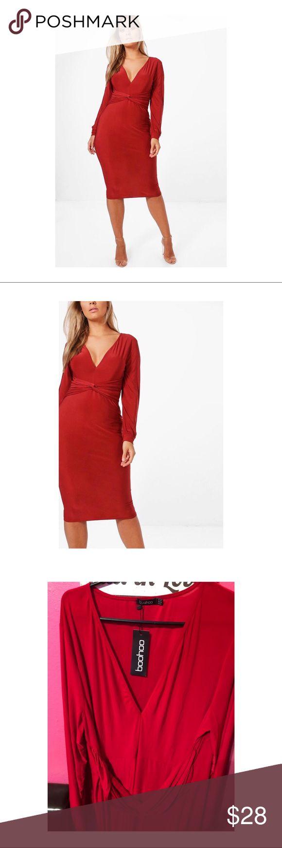 Plus Size Midi Dress NWT. Red long sleeve knot front midi dress. Size 20 never worn. Boohoo Plus Dresses Midi