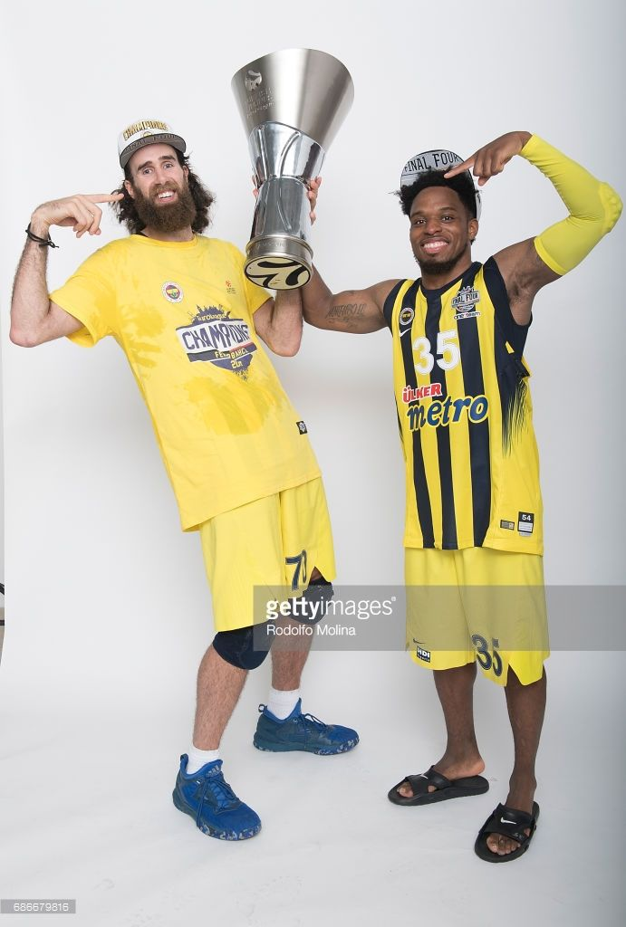 Luigi Datome, #70 of Fenerbahce Istanbul and Bobby Dixon, #35 pose with Trophy duringTurkish Airlines EuroLeague Basketball Final Four istanbul 2017 Champion Photo Session at Sinan Erdem Dome on May 21, 2017 in Istanbul, Turkey.