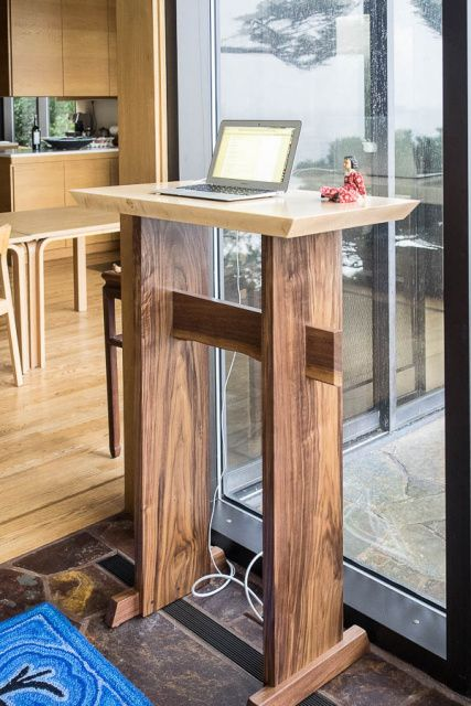 A minimalist modern wood standing desk for home office- wood writing desk, writing desk for standing, desk w/ live edge stretcher- handmade wood furniture
