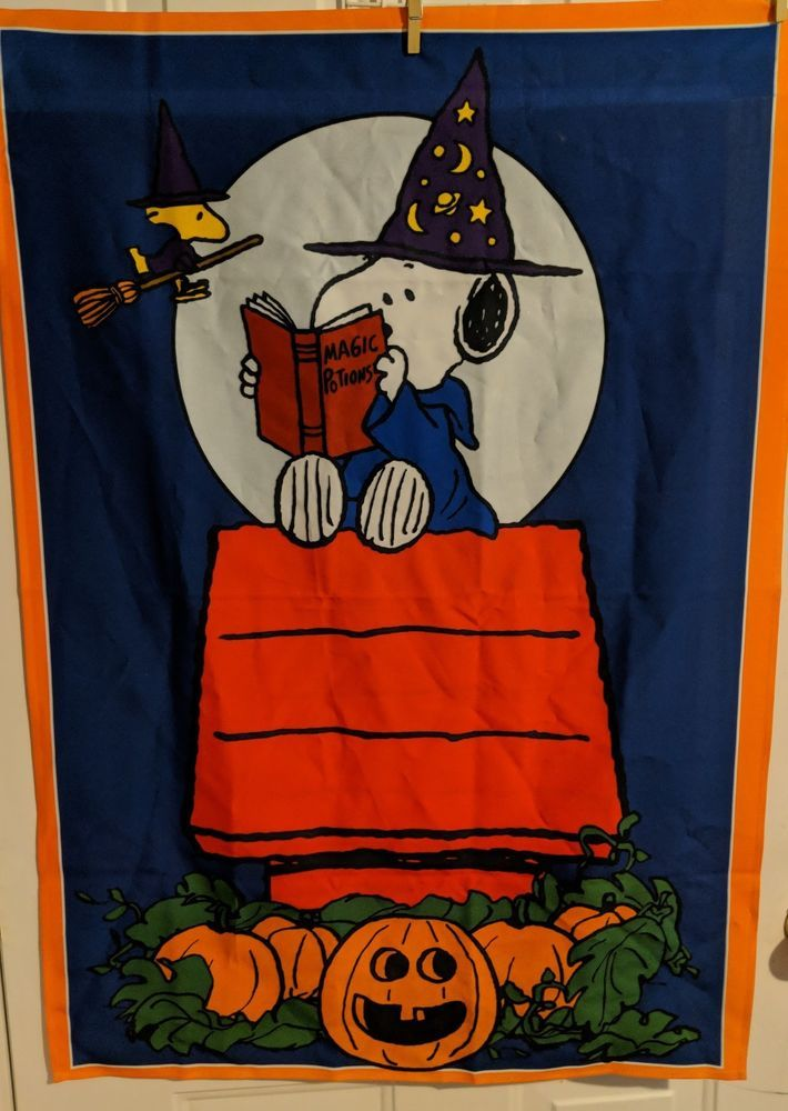 90678c176bcf16 Peanuts Snoopy And Woodstock Halloween Large Garden Flag 38x27 Inch   Unbranded