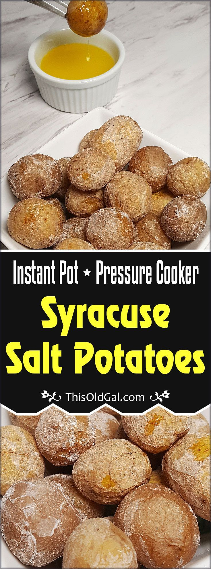 Pressure Cooker Syracuse Salt Potatoes, created by Irish Salt Miners, are made with new potatoes, that are boiled in brine, yielding a creamy interior. via @thisoldgalcooks
