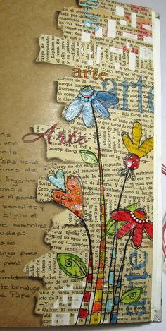 Beautiful craft paper art journal page with flowers. IMG_8468.JPG 805×1,600 pixels GREAT IDEA. I'LL USE OLD BIBLES