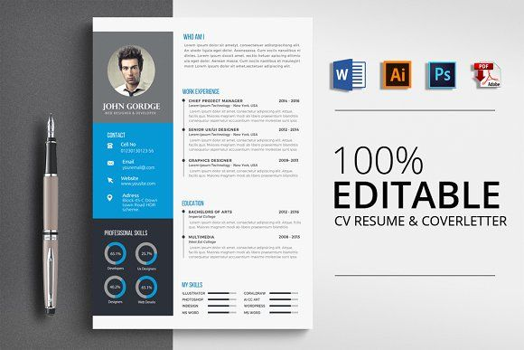modern cv resume word by business flyers on creativemarket