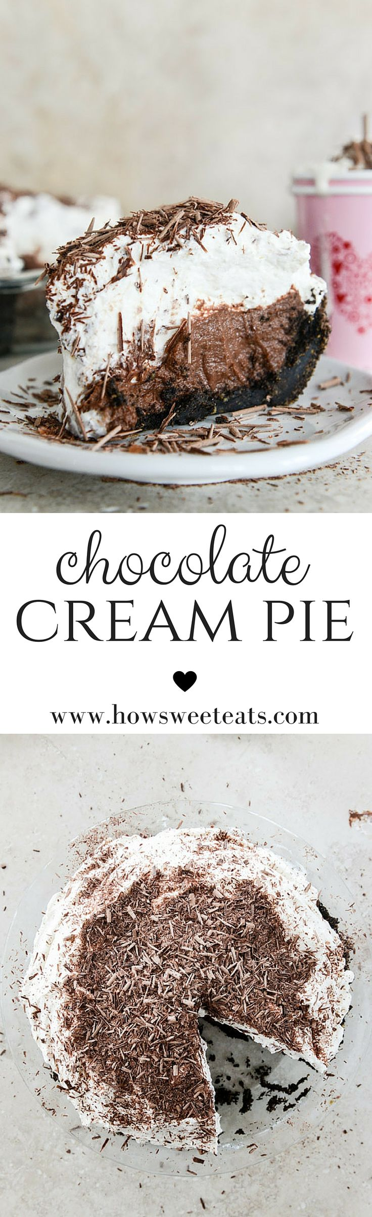 chocolate cream pie with vanilla whipped cream by @howsweeteats I howsweeteats.com