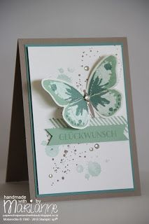 Watercolor Wings, Gorgeous Grunge, Stampin' up, In Partystimmung, In-Color 2015-17, Minzmakrone, Taupe, Aquamarin, Glückwunschkarte,